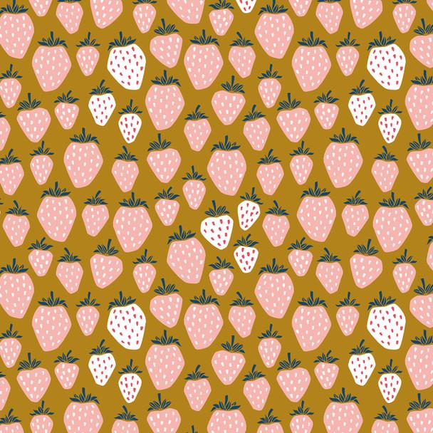 Yellow Strawberries fabric Cotton + Steel Under the Apple Tree Queen of Berries