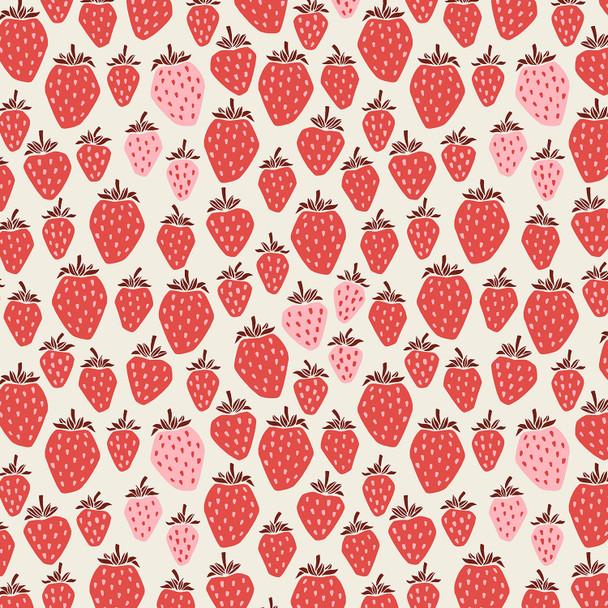 Pink Berry Strawberries fabric Cotton + Steel Under the Apple Tree Queen of Berries