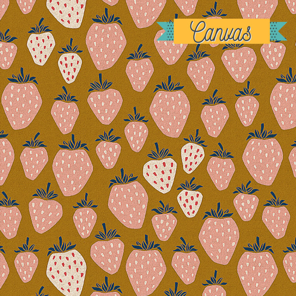 Summer Sunset Strawberries Unbleached CANVAS fabric - Cotton + Steel QTR YD