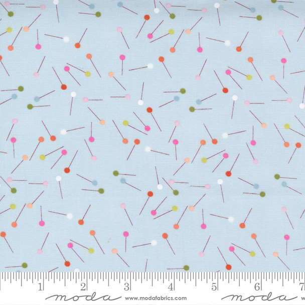 Breeze Light Blue colorful sewing pins Make Time Moda Fabrics quilt cotton