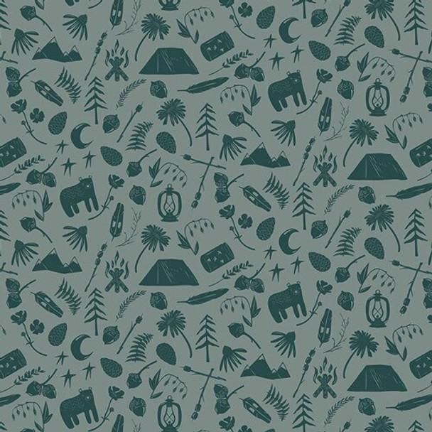 Camping Gear green cotton fabrics design