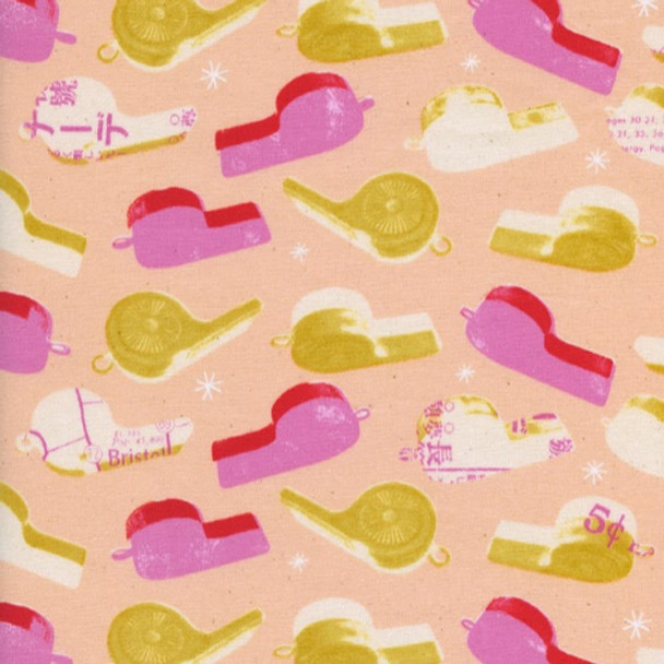 Pink whistles cotton fabric, Melody Miller Cotton + Steel Trinket, QTR YD