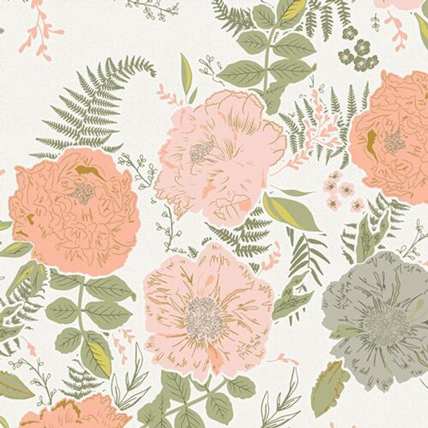 Foraged Garland Peony floral cotton fabrics design