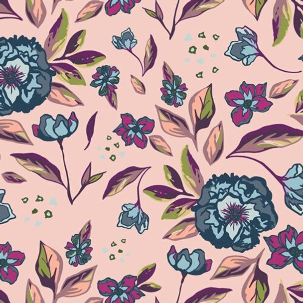 Blush Pink Blue floral fabrics design