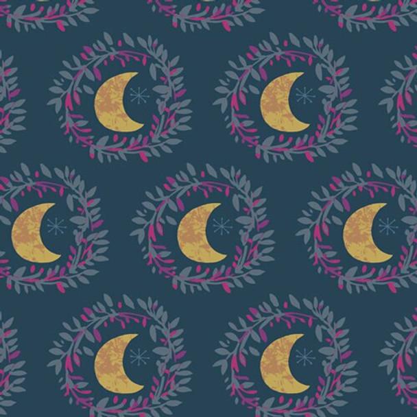 Blue Purple moon quilting cotton fabrics design