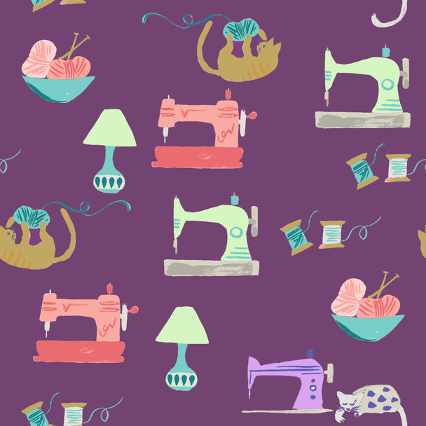 Sewing machine fabric, Saturday Sewing organic cotton Monaluna fabric, QTR YD