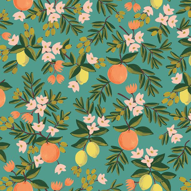 Citrus Floral Teal by Rifle Paper Co., QTR YD