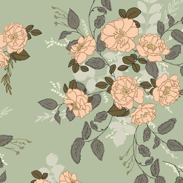 Green peach floral Fabrics design