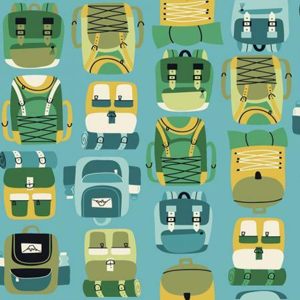 Blue Backpack Hiking Camping fabrics design