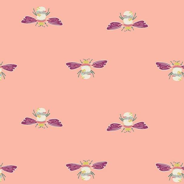 Coral bumble bee fabrics design