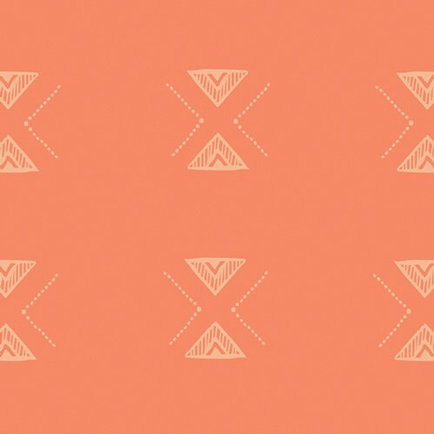 Orange aztec cotton fabrics design