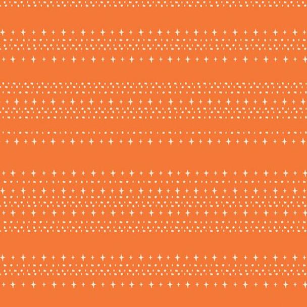 Orange stars aligned treat cotton fabrics design