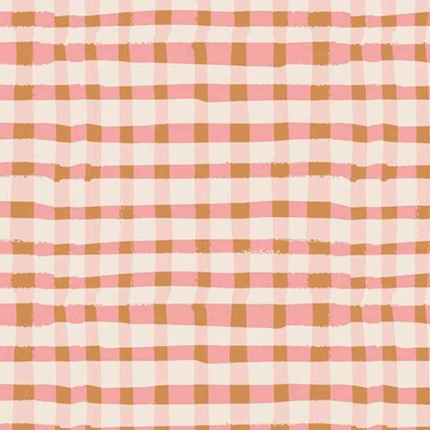 Pink brown plaid Lambkin cotton fabrics design