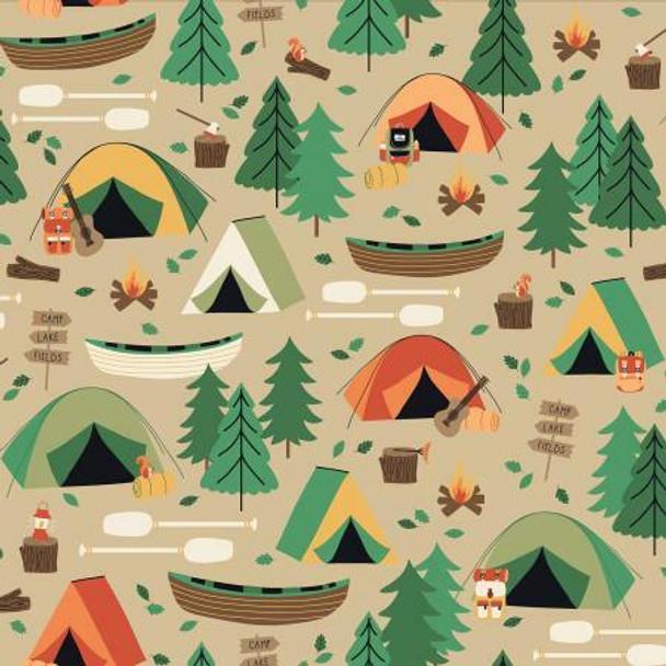 Brown Camping Tent Canoe fabrics design