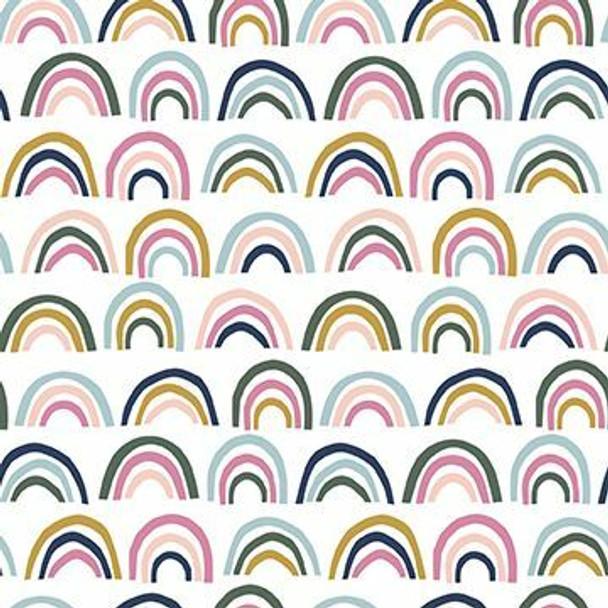 Neutral small rainbow fabrics design