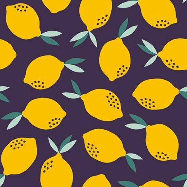 Navy lemons fruit fabrics design