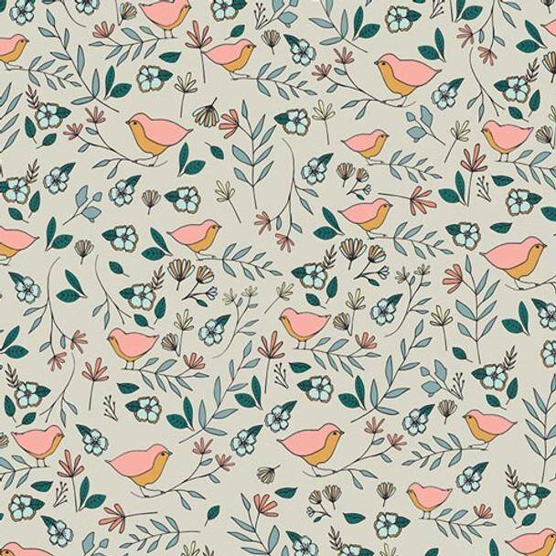 Cream love birds cotton fabrics design