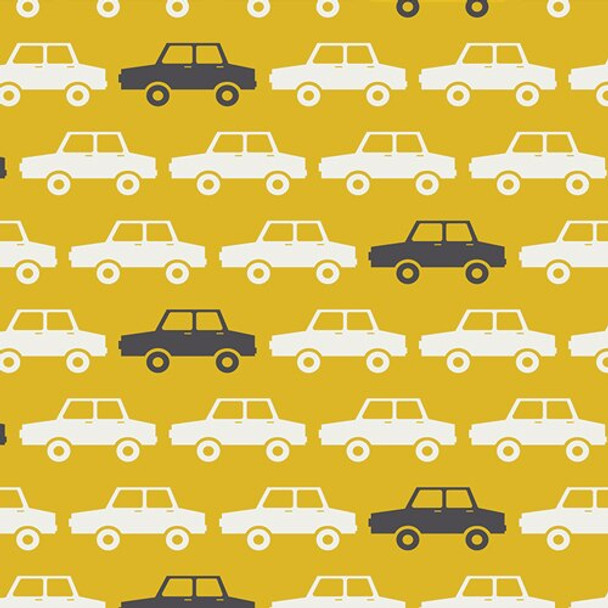 Yellow car quilting cotton fabrics design