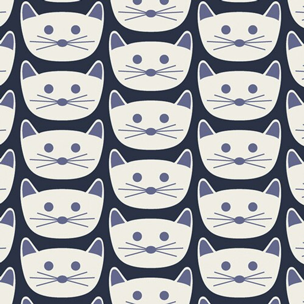 Blue Cat Nap District cotton fabrics design