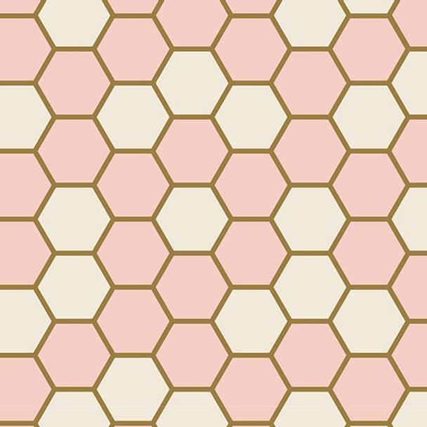 Hexagon Rose cotton fabrics design
