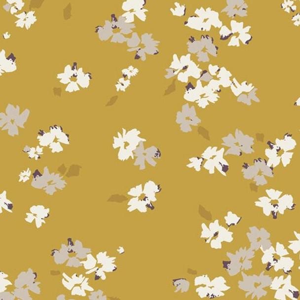 Gold yellow white floral fabrics design