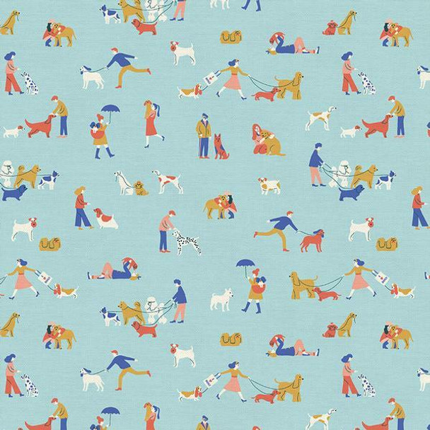 Dog Walkers blue fabrics design