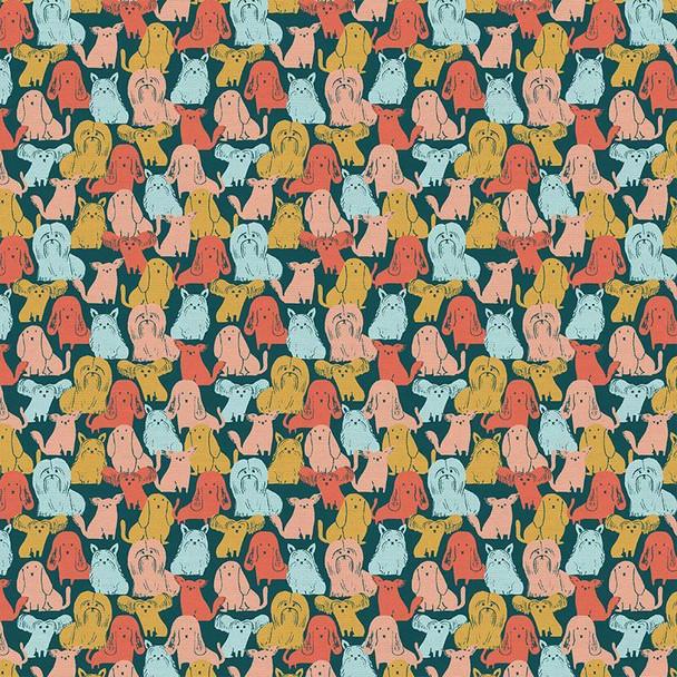 Dog Breeds Multicolored fabrics design