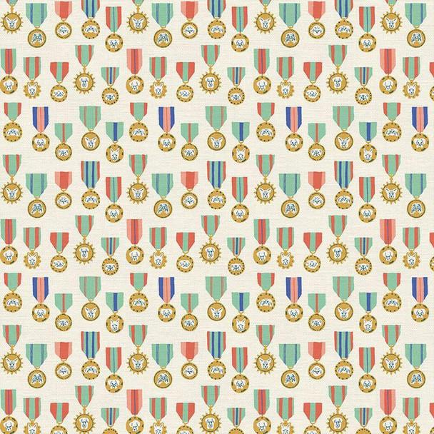 Dog Medals cream fabrics design