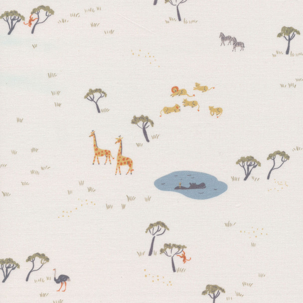 White jungle animals fabric, Cloud 9 Fabrics Precious Kingdom fabric, QTR YD