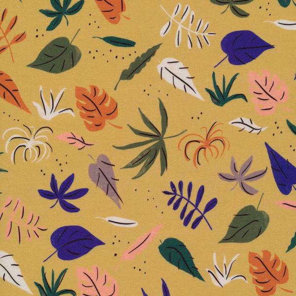 Mustard green jungle leaves rainforest Fabrics design