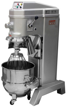 American Eagle AE-60N4A 60Qt Planetary Mixer with Safety Guard & Power Lift, 3HP, 4 speeds, 220V/1Ph/60Hz Open Bowl Lowered