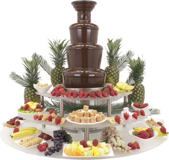 "Buffet Enhancements Chocolate Fountain Surround Display Riser, fits 35-40"" fountain, 3 Tier, Frosted White"