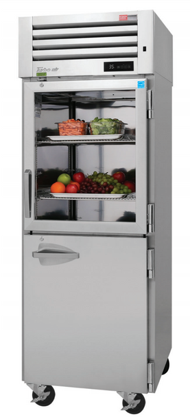 Turbo Air PRO-26R-GSH-N Single Section Reach-In Glass/Solid Combo Half Doors Top Mount Refrigerator