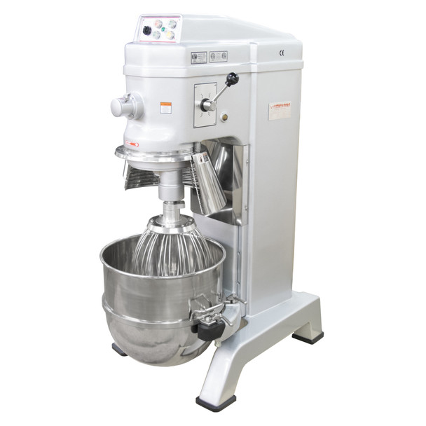 American Eagle AE-60N4A 60Qt Planetary Mixer with Safety Guard & Power Lift, 3HP, 4 speeds, 220V/1Ph/60Hz Open Bowl Lowered on Dolly