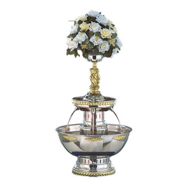 Buffet Enhancements Champagne Fountain, 5 Gal, SS, Silver And Gold Trim