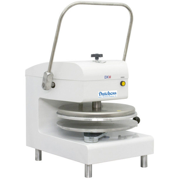 "Dutchess DUT/DXM-WH Top Heated 18"" Round Platen, Manual Pizza Press (White Powder Coat Finish) 120V"