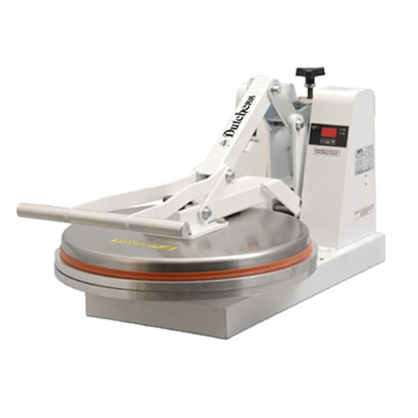 "Dutchess DUT/DM-18 Manual Pizza Press, 18"" Round Platen, Clamshell Design (White Powder Coat Finish) 120V"
