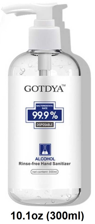 GOTDYA™ Hand Sanitizer 10.1 oz (300 ml) Pump Bottle 75% Alcohol