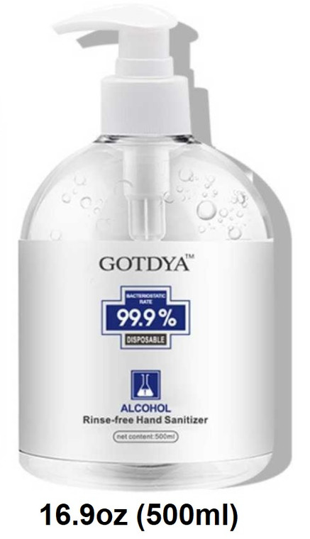 GOTDYA™ Hand Sanitizer 16.9 oz (500 ml) Pump Bottle 75% Alcohol
