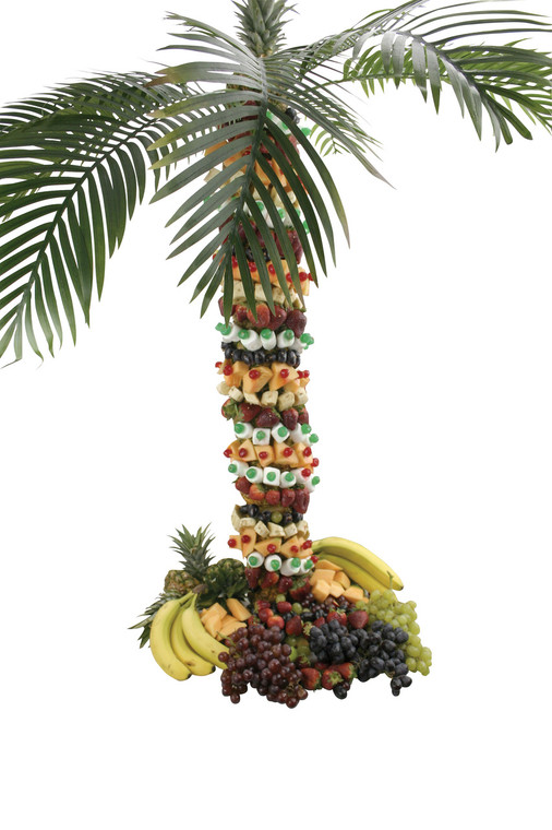 "Buffet Enhancements Pineapple Tree Stand, Large, SS Skewer With Sanilite Base, 42"", Includes 8 Palm Fronds"