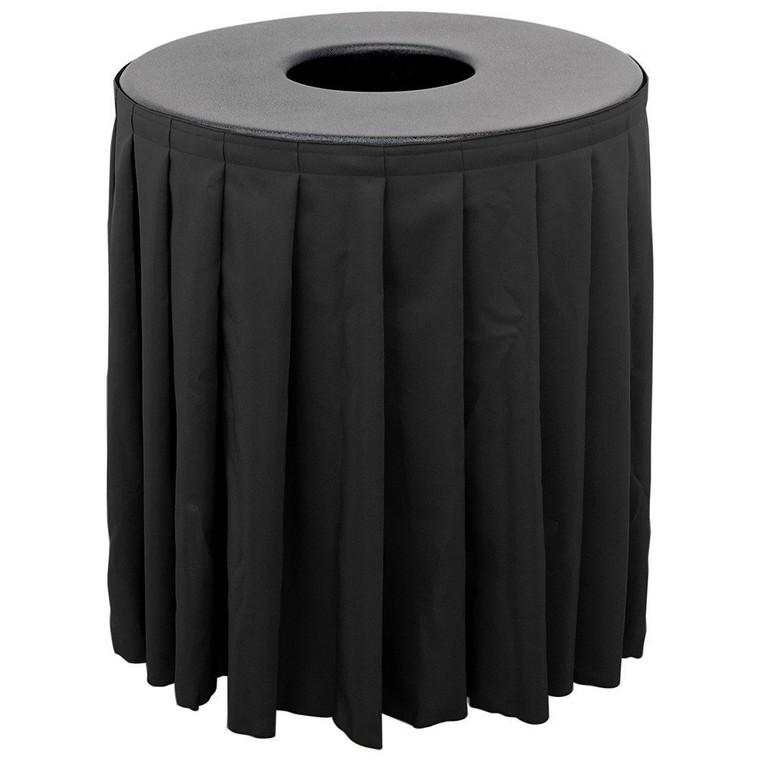 Buffet Enhancements Can Topper 32gal Value W/Skirt Rd, Black Skirt