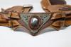 Close up of El Milagro Leather Utility Belt Bag gemstone