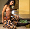El Milagro Leather Utility Belt Bag female model with lifestyle shot wearing belt.