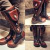Women's Tall Gunslinger boots Black and Brown lifestyle shot