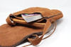 Brown Leather Hand Stitched Purse Open pockets
