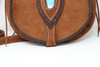Brown Leather Hand Stitched Purse close up of gemstone