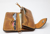 Brown hand & machine stitched leather Long Bill Wallet with chain side view with contents