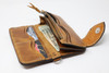 Brown hand & machine stitched leather Long Bill Wallet with chain