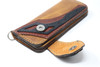 Brown hand & machine stitched leather Long Bill Wallet