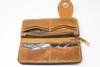 Brown hand & machine stitched leather Long Bill Wallet open view.